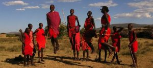 The masai nomads doing their cultural dance